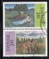 Sweden 1996 Used Scott #2178-#2179 Pair 3.85k Paintings By Eric Hallstrom, Thage Nordholm - Suède