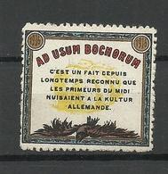 FRANKREICH France Ad Usum Bochorum Vignette * - Erinnophilie