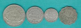 George VI - 1939 - 10 Cents (KM1) 25 Cents ¼ Dollar (KM2) 50 Cents ½ Rupee (KM3) & 1 Rupee (KM4) - Seychelles