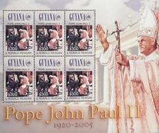 Guyana 2005 Pope John Paul II And Pres.Ronald Reagan,Sheet Of Six - Guyana (1966-...)