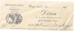 MANUFACTURE DE CHAPEAUX-BOURGES 1895   DERON 6 AVECUE NATIONALE  BOURGES  CHER - 1800 – 1899