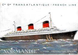CPA-1935-PAQUEBOT-NORMANDIE-CGT-FRENCH LINE-Edit L Atlantique- TBE-RARE - Paquebots