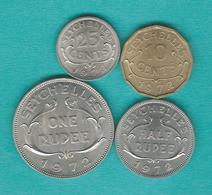 Elizabeth II - 1972 - 10 Cents (KM10) 25 Cents (KM11) 50 Cents (KM12); 1 (KM13) & 5 Rupees (KM19) - Seychelles