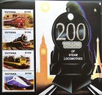 Guyana 2004  200 Years Of Steam Locomotives Sheet Of Four - Guyana (1966-...)