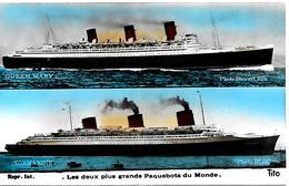 CPA-1935-Les 2 + Grands PAQUEBOTS Du Monde/NORMANDIE-et QUEEM MARY-Edit Tito-TBE- - Paquebots