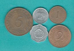 Elizabeth II - Cent - 1963 (KM14) & 1972 - (KM17) 2 Cents - 1961 (KM15) 5 Cents - 1969 (KM16) & 1974 (KM18) - Seychelles