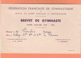 BREVET DE GYMNASTE ANNEE SCOLAIRE 1949 - 1950 COLLEGE THOUARS  DEUX SEVRES - Diplômes & Bulletins Scolaires