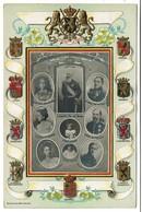 Carte Gaufrée - Famille Royale Belgique - Blasons Provinces - Edit. Théodore Schüller - 2 Scans - Royal Families