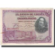 Billet, Espagne, 50 Pesetas, 1928, 1928-08-15, KM:75b, TTB - [ 2] 1931-1936 : République