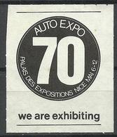 FRANKREICH France Auto EPO 70 Palais Des Expositions Nice Exhibition Vignette - Advertising