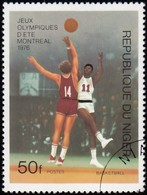 NIGER - Scott #364 Montréal '76 Winter Olympic Games, Basketball / Used Stamp - Summer 1976: Montreal