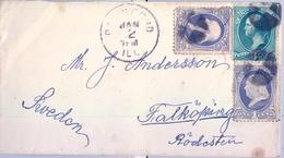 ESTADOS UNIDOS , FRONTAL CIRCULADO , ROCKFORD - FALKÖPING , YV. 39 X 2 , 41 , FRANKLIN , WASHINGTON - 1847-99 Emisiones Generales