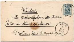 RUSSIA 1889 - ENTIRE ENVELOPE Of 7 KOPECS From Riga To Wenden, Germany - 1857-1916 Empire
