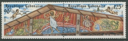 Gabun 1984 Weihnachten Gemälde An Kirche In Libreville 922/23 ZD Postfrisch - Gabon (1960-...)