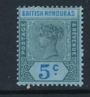 BRITISH HONDURAS, 1891 5c Blue On Blue Paper Superb MM, Cat £23 - Brits-Honduras (...-1970)
