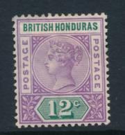 BRITISH HONDURAS, 1891 12c Fine Light MM - Brits-Honduras (...-1970)