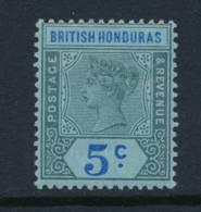 BRITISH HONDURAS, 1891 5c Blue On Blue Paper Fine Light MM, Cat £23 - Brits-Honduras (...-1970)