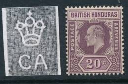 BRITISH HONDURAS, 1902 20c Superb MM, Cat £15 - Brits-Honduras (...-1970)