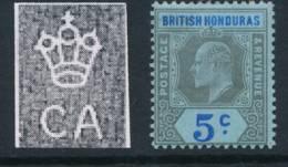BRITISH HONDURAS, 1902 5c On Blue Paper Fine MM, Cat £22 - Brits-Honduras (...-1970)