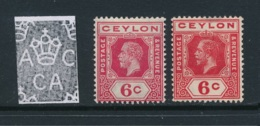 CEYLON, 1912 6c Carmine (type A) Fine MM + 6c (type B), SG306, 309, Cat £20 - Ceylon (...-1947)