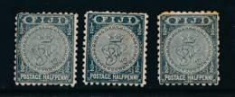 FIJI, 1891 ½d (P11 Slate, P11 Green-slate, P10) MM, SG76,86,86a, Cat £13 - Fiji (...-1970)