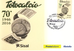 ITALIA -2016 -TOTOCALCIO- 1 CARTOLINA POSTALE - FDC. - F.D.C.