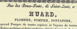 PARIS 1830 CERCUEIL EN PLOMB Huard Plombier Pompier Fontainier Rue Des Deux Ponts Ile Saint Louis VOIR SCANS - 1800 – 1899