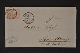 ZNr. 24G Auf Faltbrief Von Zürich Nach Niederuzwil Mit Ankunftsstempel Oberuzwyl - 1854-1862 Helvetia (Sin Dentar)