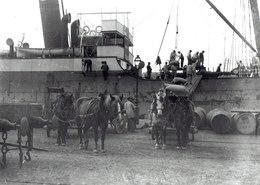 Cargo à Vapeur En Cours De Chargement Déchargement à Bayonne Aux Environs De 1900,tirage Argentique 13/18 - Boats