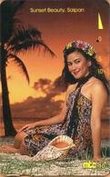 Northern Mariana Islands - NMI-MT-16, Mtc, Sunset Beauty, Saipan, Palm-trees, Shell, Woman, 10U, 1995, Used - Northern Mariana Islands