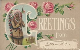 Postcard RA009913 - Greetings From... (Native / Indian / Flower) - Greetings From...