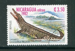 NICARAGUA- P.A Y&T N°1010- Oblitéré (crocodile) - Reptiles & Amphibians