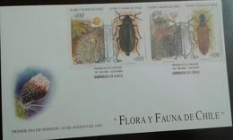 L) 1995 CHILE, FLORA AND FAUNA DE CHILE, CACTUS, BEETLES, NATURE, FDC - Chile