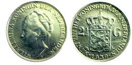 03155 GETTONE TOKEN JETON REPRO COIN 2½ GULDEN WILHEIMINA KONINGIN DER NEDERLANDEN 1939 - Pays-Bas