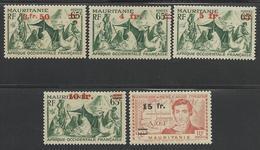 MAURITANIE 1944 YT 133/137** AVEC VARIETES - Mauritanie (1906-1944)