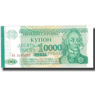 Billet, Transnistrie, 10,000 Rublei On 1 Ruble, 1994, 1994, KM:29, NEUF - Moldavie
