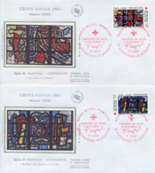 France 1981 FDC Surtax For Red Cross Stained Glass Windows Of Sacred Heart Church In Audincourt By Fernand Leger - Vetri & Vetrate