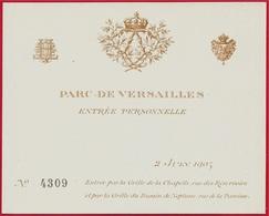Juin 1905 Carte D'Entrée Personnelle Numérotée PARC De VERSAILLES 78 (Château) - Tickets - Vouchers