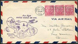 USA Territory Of HAWAII 1934 Wailuku Pmk Maui Island First Flight Cover FFC Seaplane MAP Surfing - Hawaii