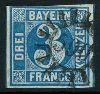 BAYERN QUADRATE Nr 2II GMR 590 Zentrisch Gestempelt X8841EA - Bavière