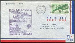 USA Territory Of HAWAII 1941 Honolulu Pmk First Flight To Suva Fiji Cover FFC Boeing-314 Clipper Seaplane Flying Boat - Hawaii