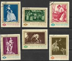 ROMANIA   1967   QUADRI NELLA GALLERIA NAZIONALE DI BUCAREST YVERT. 2286-2291 USATA VF - 1948-.... Republics