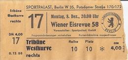 SPORTPALAST  BERLIN  8.12.58   WIENER EISREVUE 58   LANDESFINANZAMT  BERLIN - Tickets D'entrée