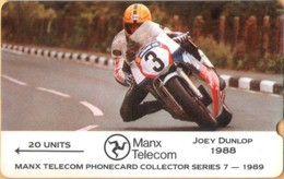 Isle Of Man - GPT, Collector Series-1989, Joey Dunlop, 3IOMC, Motor Racing, 20 U, 6000ex, 1989, VF Used - Isla De Man