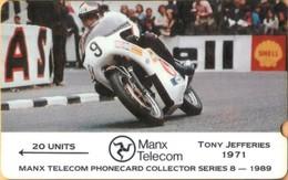 Isle Of Man - GPT, Collector Series-1989, Tony Jefferies, 3IOMD, Motor Racing, 20 U, 6000ex, 1989, VF Used - Isla De Man