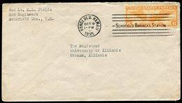 USA Territory Of HAWAII 1935 Honolulu Schofield Barracks Station Machine Pmk Military Cover Franked 6 C. Air Mail - Hawaii