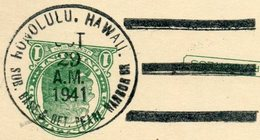 SUBMARINE USA Territory Of HAWAII 1941 Honolulu SUB. BASE & DET. PEARL HARBOR BR. Pmk Stationery Card U-Boot Sous-marin - Sous-marins