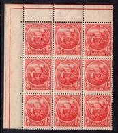 BARBADOS - 1921 ONE PENNY RED COLONY SEAL MULT SCRIPT CA IN CORNER MARGINAL BLOCK OF 9 FINE MNH ** SG 220 X 9 - Barbados (...-1966)