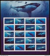 USA 2017 Requins Feuille Complète De 20 Valeurs - Ganze Bögen