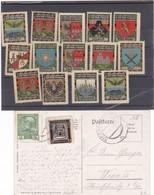 Wappen Von Ortschaften Von Nordmähren, 14 Versch. ** + 1 Auf Postkarte - Vignettes De Fantaisie
